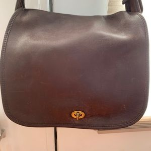 Coach Brown Leather Stewardess Shoulder Bag.